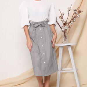 חצאית פסים אפור